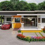 แบบบ้านชั้นเดียวสไตล์โมเดิร์น บรรยากาศสดใสด้วยโทนสีเหลือง 3 ห้องนอน 2 ห้องน้ำ พร้อมโรงจอดรถ