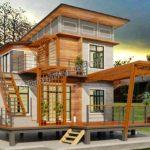 แบบบ้านน็อคดาวน์สองชั้น 3 ห้องนอน 2 ห้องน้ำ ในกลิ่นอายแบบชนบท พร้อมระเบียงกว้างหน้าบ้าน