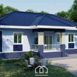 แบบบ้านชั้นเดียวยกพื้น โทนสีฟ้า ดีไซน์เรียบง่าย 3 ห้องนอน 2 ห้องน้ำ พื้นที่ใช้สอย 110 ตร.ม.
