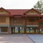 แบบบ้านทรงไทยประยุกต์ ยกใต้ถุนสูง หลังคามะนิลาคู่ 3 ห้องนอน 3 ห้องน้ำ พื้นที่ใช้สอย 290 ตร.ม.