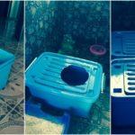 """DIY """"ห้องน้ำแมวทำเอง"""" ขั้นตอนสุดง่าย ใช้แค่ลังพลาสติกสองใบ"""