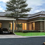 แบบบ้านสไตล์คอนเทมโพรารีรูปทรงตัวแอล (L-Shaped House) 2 ห้องนอน 3 ห้องน้ำ พร้อมหลังคาปั้นหยาดีไซน์เล่นระดับ