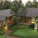แบบบ้านชั้นเดียวสไตล์รีสอร์ท รูปทรงตัวแอล (L-Shaped House) 3 ห้องนอน 4 ห้องน้ำ พื้นที่ใช้สอย 175 ตร.ม.