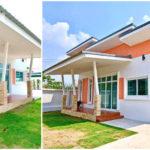 บ้านทรงโมเดิร์นชั้นเดียว น่ารักสดใสในโทนสีลูกพีช 3 ห้องนอน 2 ห้องน้ำ พื้นที่ใช้สอย 85 ตร.ม.