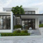 แบบบ้านสไตล์โมเดิร์นโทนสีขาวพร้อมการออกแบบภายในสุดโปร่งโล่ง 3 ห้องนอน 2 ห้องน้ำ พื้นที่ใช้สอย 184 ตร.ม.