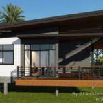 แบบบ้านสไตล์โมเดิร์นทรอปิคอล บรรยากาศบ้านสวน 2 ห้องนอน 2 ห้องน้ำ มีเฉลียงหน้าบ้านนั่งเล่นชมวิว