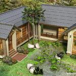 แบบบ้านชั้นเดียวสไตล์รีสอร์ท รูปทรงตัวยู (U-Shaped House) 3 ห้องนอน 4 ห้องน้ำ พื้นที่ใช้สอย 180 ตร.ม.
