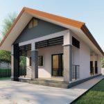 แบบบ้านชั้นเดียวหน้าแคบ หลังคาทรงจั่ว ออกแบบเรียบง่ายกะทัดรัด2 ห้องนอน 2 ห้องน้ำ พื้นที่ใช้สอย 90 ตร.ม.