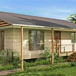 แบบบ้านชั้นเดียวยกพื้นสไตล์คอทเทจ ดีไซน์เรียบง่ายกะทัดรัด 1 ห้องนอน 1 ห้องน้ำ พื้นที่ใช้สอย 80 ตร.ม.