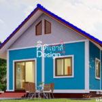 แบบบ้านชั้นเดียวสไตล์ชนบท ขนาดกะทัดรัด สีสันสดใส 2 ห้องนอน 1 ห้องน้ำพื้นที่ใช้สอย 54 ตร.ม.