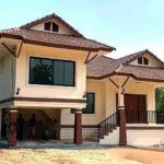 บ้านชั้นครึ่งทรงไทยประยุกต์ยกใต้ถุนสูง หลังคาทรงมะนิลา 4 ห้องนอน 2 ห้องน้ำ พื้นที่ใช้สอย 150 ตร.ม.
