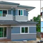 บ้านสองชั้นสไตล์คอนเทมโพรารี โทนสีฟ้าเทา หลังคาทรงปั้นหยา 3 ห้องนอน 3 ห้องน้ำ พื้นที่ใช้สอย 140 ตร.ม.