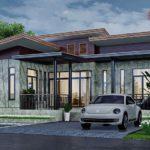 แบบบ้านชั้นเดียวสไตล์โมเดิร์นลอฟท์ เน้นงานปูนเปลือย เผยโครงสร้างเหล็ก  2 ห้องนอน 2 ห้องน้ำ พื้นที่ใช้สอย 90 ตร.ม.