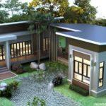 บ้านชั้นเดียวสไตล์โมเดิร์นรีสอร์ท รูปทรงตัวเจ (J-Shaped house) พร้อมพื้นที่สวนตรงกลาง และเฉลียงเดินรอบบ้าน