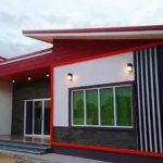บ้านโมเดิร์นชั้นเดียวโทนสีแดง 3 ห้องนอน 2 ห้องน้ำ พื้นที่ใช้สอย 230.50 ตร.ม. พร้อมงบประมาณฯ แบบละเอียด