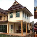 บ้านสองชั้นทรงไทยประยุกต์ หลังคามะนิลาแฝด มีระเบียงกว้างขวาง 2 ห้องนอน 3 ห้องน้ำ พื้นที่ใช้สอย 130 ตร.ม.