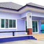 บ้านชั้นเดียวสไตล์ร่วมสมัย โทนสีฟ้า ขนาดกะทัดรัด 3 ห้องนอน 2 ห้องน้ำ พื้นที่ใช้สอย 88 ตร.ม.