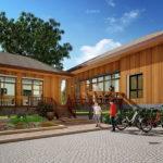 แบบบ้านยกพื้นสูงทรงตัวแอล (L-Shaped House) สไตล์คอนเทมโพรารี ตกแต่งด้วยงานไม้สวยงาม พร้อมเฉลียงกว้าง 3 ห้องนอน 2 ห้องน้ำ