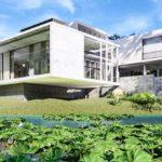 แบบบ้านสีขาวเรียบหรูสไตล์โมเดิร์น โดดเด่นด้วยรูปทรงเรขาคณิต ออกแบบสำหรับพื้นที่ใกล้ชิดธรรมชาติ