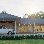 แบบบ้านชั้นเดียวสไตล์คอนเทมโพรารี รูปทรงตัวแอล (L-Shaped House) พื้นที่ใช้สอยกว้างขวาง พร้อมสระว่ายน้ำและโรงจอดรถในร่ม