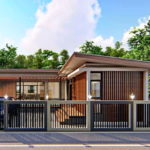 บ้านโมเดิร์นชั้นเดียวรูปทรงตัวเอล (L-Shaped House) ดีไซน์โปร่งโล่ง สวยงามโดดเด่นด้วยงานเหล็กและไม้ระแนง