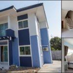 บ้านสองชั้นสไตล์ร่วมสมัย โทนสีฟ้า 4 ห้องนอน 2 ห้องน้ำ พื้นที่ใช้สอย 120 ตร.ม.