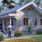 แบบบ้านหลังเล็กสไตล์คอทเทจ อบอุ่นด้วยผนังอิฐสีขาว 1 ห้องนอน 2 ห้องน้ำ พื้นที่ใช้สอย 82 ตร.ม.