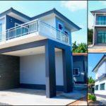 บ้านสองชั้นสไตล์คอนเทมโพรารี โทนสีน้ำเงินขาว ภายในสวยเนี้ยบ 4 ห้องนอน 3 ห้องน้ำ พร้อมระเบียงและที่จอดรถ