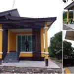 บ้านชั้นเดียวยกพื้นหลังเล็ก ดีไซน์เรียบง่ายกะทัดรัด โทนสีเหลือง 2 ห้องนอน 1 ห้องน้ำ พื้นที่ 65 ตารางวา