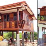 บ้านไม้ยกพื้นสูงขนาดกะทัดรัด กลิ่นอายบ้านไทยโบราณ ก่อสร้างจากวัสดุไม้เก่า ในงบประมาณ 275,000 บาท
