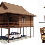 แบบบ้านไม้ทรงไทย ออกแบบใต้ถุนยกสูง 3 ห้องนอน 1 ห้องน้ำ พร้อมเฉลียงพักผ่อนหน้าบ้าน