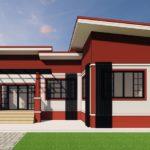 บ้านโมเดิร์นชั้นเดียว โทนสีขาว-แดง ขนาดกะทัดรัด 3 ห้องนอน 2 ห้องน้ำพื้นที่ใช้สอย 94 ตร.ม.