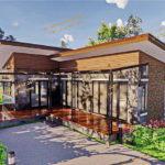 แบบบ้านโมเดิร์นชั้นเดียว ดีไซน์ดิบเท่ พร้อมระเบียงกว้าง 2 ห้องนอน 1 ห้องน้ำ พื้นที่ใช้สอย 85 ตารางเมตร