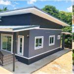 บ้านชั้นเดียวทรงโมเดิร์นโทนสีเทาเข้ม 3 ห้องนอน 2 ห้องน้ำ พื้นที่ใช้สอย 104 ตร.ม.