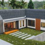 แบบบ้านโมเดิร์นคอทเทจ รูปทรงตัวแอล (L-Shaped House) ออกแบบสำหรับพื้นที่ดินลาดชัน 3 ห้องนอน 3 ห้องน้ำ พื้นที่ใช้สอย 178 ตร.ม.