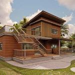 บ้านไม้สองชั้นสไตล์โมเดิร์น มีดาดฟ้าเอนกประสงค์ บรรยากาศอบอุ่นเรียบง่าย กลมกลืนไปกับธรรมชาติ
