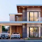 บ้านสองชั้นสไตล์โมเดิร์น โดดเด่นด้วยดีไซน์ทรงกล่อง 3 ห้องนอน 2 ห้องน้ำ พร้อมโรงจอดรถ 2 คัน