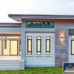 บ้านสไตล์โมเดิร์นชั้นเดียว โทนสีฟ้าอมเทา ดีไซน์ทรงกล่องเรียบง่าย 3 ห้องนอน 3 ห้องน้ำ