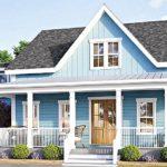 แบบบ้านสไตล์คันทรีสองชั้น โทนสีฟ้า ดีไซน์อบอุ่นเรียบง่าย 3 ห้องนอน 3 ห้องน้ำ พื้นที่ใช้สอย 160 ตร.ม.