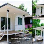 บ้านน็อคดาวน์ยกพื้นสไตล์โมเดิร์น ตกแต่งในโทนสีขาว2 ห้องนอน 1 ห้องน้ำ พื้นที่ใช้สอย 42 ตร.ม.