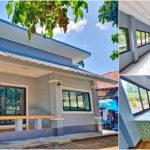 บ้านชั้นเดียวสไตล์โมเดิร์นหลังเล็ก โทนสีเทาอมฟ้า 3 ห้องนอน 2 ห้องน้ำ พื้นที่ใช้สอย 92 ตร.ม.