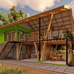 แบบบ้านสองชั้นกึ่งไม้กึ่งปูน หลังคาทรงจั่ว พร้อมมุมนั่งเล่นสุดชิลหน้าบ้าน เข้ากับบรรยากาศที่รายล้อมด้วยธรรมชาติ