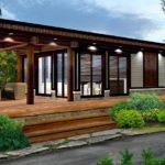 แบบบ้านไม้ชั้นสไตล์โมเดิร์น ขนาดกะทัดรัด 1 ห้องนอน 1 ห้องน้ำ พร้อมพื้นที่เฉลียงทรงตัวแอลขนาดกว้าง