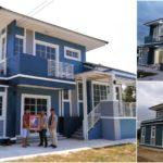 แบบบ้านโมเดิร์นสองชั้น สวยสะดุดตาด้วยโทนสีน้ำเงิน ดีไซน์เล่นระดับที่ภายใน 4 ห้องนอน 3 ห้องน้ำ พื้นที่ใช้สอย 190 ตร.ม.