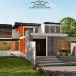 แบบบ้านสองชั้นสไตล์โมเดิร์นหลังคาสแลป ดีไซน์ทันสมัย รูปทรงตัวแอล (L-Shaped House) พร้อมสระว่ายน้ำ
