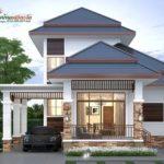 บ้านไทยประยุกต์สองชั้น โครงสร้างสูงโปร่ง ตกแต่งเรียบง่าย 3 ห้องนอน 2 ห้องน้ำ พื้นที่ใช้สอย 175 ตร.ม.