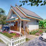 แบบบ้านทรงศาลาไทย หลังคาจั่วกลิ่นอายล้านนา 1 ห้องนอน 1 ห้องน้ำ สำหรับสร้างไว้เป็นเรือนปฏิบัติธรรม หรือรีสอร์ทต่างจังหวัด