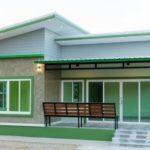 บ้านชั้นเดียวสไตล์โมเดิร์น โทนสีเขียวสดใส ดีไซน์เรียบง่ายลงตัว 3 ห้องนอน 1 ห้องน้ำ