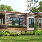 แบบบ้านทรงโมเดิร์นหน้ากว้าง ตกแต่งด้วยผนังลายหินธรรมชาติ 1 ห้องนอน 1 ห้องน้ำ พื้นที่ใช้สอย 57 ตารางเมตร