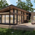 แบบบ้านไม้รีสอร์ทดีไซน์โมเดิร์น 2 ห้องนอน 1 ห้องน้ำ วัสดุไม้และเหล็กสวยงามลงตัว พื้นที่ใช้สอย 102 ตร.ม.